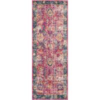 Surya Fenalun Floral Border 2-Foot 7-Inch x 7-Foot 3-Inch Runner in Pink