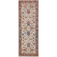 Surya Fenalun Wide-Border Floral 2-Foot 7-Inch x 7-Foot 3-Inch Runner in Light Grey