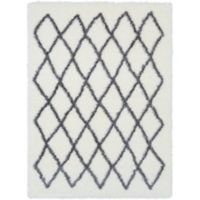Surya Aynwild Geometric Shag 2-Foot x 3-Foot Accent Rug in White