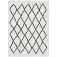 Surya Aynwild Geometric Shag 7-Foot 10-Inch by 10-Foot 3-Inch Area Rug in White