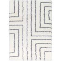 Surya Aynwild Maze Shag 7-Foot 10-Inch by 10-Foot 3-Inch Area Rug in White