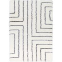 Surya Aynwild Maze Shag 7-Foot 10-Inch by 10-Foot 3-Inch Area Rug in White