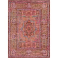 Surya Dynine Center Medallion Border 3-Foot 11-Inch x 5-Foot 7-Inch Area Rug in Pink