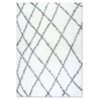 nuLOOM Alvera Diamond Easy Shag 6-Foot 5-Inch x 9-Foot Area Rug in White