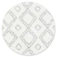 nuLOOM Iola Easy 5-Foot 3-Inch Round Shag Area Rug in White