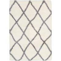 Surya Aynwild Diamond Trellis Shag 2-Foot 3-Inch x 10-Foot 3-Inch Area Rug in White/Grey