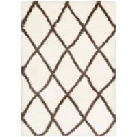 Surya Aynwild Diamond Trellis Shag 2-Foot x 3-Foot Area Rug in White/Camel