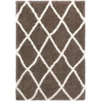 Surya Aynwild Diamond Trellis Shag 2-Foot x 3-Foot Area Rug in Camel/White