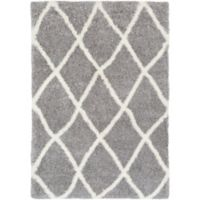 Surya Aynwild Diamond Trellis Shag 2-Foot x 3-Foot Area Rug in Grey/White