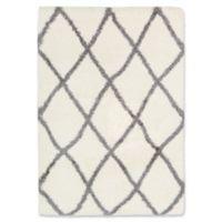 Surya Aynwild Diamond Trellis Shag 5-Foot 3-Inch x 7-Foot 3-Inch Area Rug in White/Grey