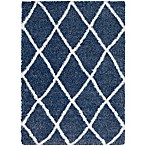 Surya Aynwild Diamond Trellis Shag 7-Foot 10-Inch x 10-Foot 3-Inch Area Rug in Navy/White
