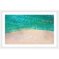 Parvez Taj White Umbrella Beach 24-Inch x 16-Inch Framed Wall Art