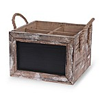 Boston International Wood Wine Carrier Chalkboard Box