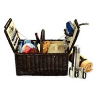 Picnic at Ascot Surrey Picnic Basket for 2 with Blanket and Coffee Set in Blue