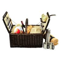 Picnic at Ascot Surrey Picnic Basket for 2 with Blanket and Coffee Set in Yellow
