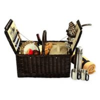 Picnic at Ascot Surrey Picnic Basket for 2 with Blanket and Coffee Set in Brown