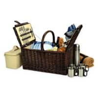 Picnic at Ascot Buckingham Picnic Basket for 4 with Blanket and Coffee Set in Blue