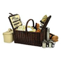 Picnic at Ascot Buckingham Hamptons Picnic Basket for 4 with Blanket and Coffee Set in Yellow