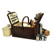 Picnic at Ascot Buckingham London Plaid Picnic Basket for 4 with Blanket and Coffee Set in Brown