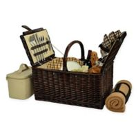 Picnic at Ascot Buckingham London Plaid Picnic Basket for 4 with Blanket in Brown