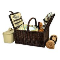 Picnic at Ascot Buckingham London Plaid Picnic Basket for 4 with Blanket in Tan