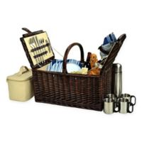 Picnic at Ascot Buckingham Stripe Picnic Basket for 4 with Coffee Set in Blue
