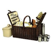 Picnic at Ascot Buckingham Hamptons Picnic Basket for 4 with Coffee Set in Yellow