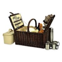 Picnic at Ascot Buckingham London Plaid Picnic Basket for 4 with Coffee Set in Brown