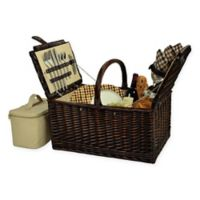 Picnic at Ascot Buckingham London Plaid Picnic Basket for 4 in Brown
