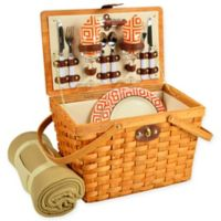 Picnic at Ascot Frisco Diamond Picnic Basket for 2 with Blanket in Orange