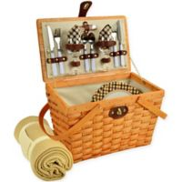 Picnic at Ascot Frisco London Plaid Picnic Basket for 2 with Blanket in Brown