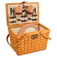 Picnic at Ascot Frisco Diamond Picnic Basket for 2 in Orange