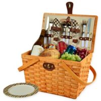 Picnic at Ascot Frisco London Plaid Picnic Basket for 2 in Brown