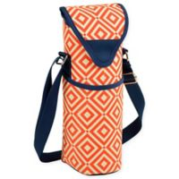 Picnic at Ascot Diamond Print Wine/Water Bottle Tote in Orange/Navy
