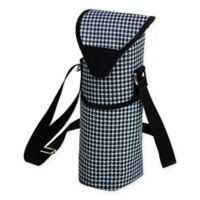 Picnic at Ascot Houndstooth Print Wine/Water Bottle Tote in Black/White