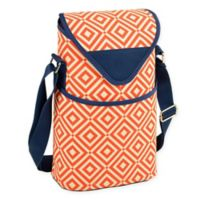 Picnic at Ascot 2-Bottle Diamond Print Wine/Water Bottle Tote in Orange/Navy