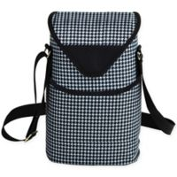 Picnic at Ascot 2-Bottle Houndstooth Print Wine/Water Bottle Tote in Black/White