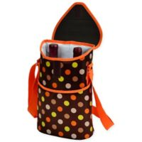 Picnic at Ascot 2-Bottle Julia Dot Print Wine/Water Bottle Tote in Brown/Orange