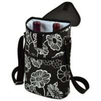 Picnic at Ascot 2-Bottle Night Bloom Print Wine/Water Bottle Tote in Black