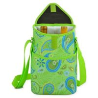Picnic at Ascot 2-Bottle Paisley Print Wine/Water Bottle Tote in Green