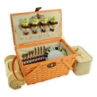 Picnic at Ascot Trellis Settler Picnic Basket for 4 with Blanket in Green