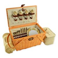 Picnic at Ascot Hamptons Settler Picnic Basket for 4 with Blanket in Yellow