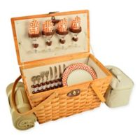 Picnic at Ascot Diamond Settler Picnic Basket for 4 with Blanket in Orange