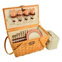 Picnic at Ascot Diamond Settler Picnic Basket for 4 in Orange
