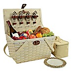 Picnic at Ascot Settler Picnic Basket with Service for 4 in Whitewash/London Plaid