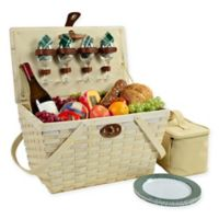 Picnic at Ascot Settler Plaid Picnic Basket for 4 in Green