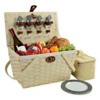 Picnic at Ascot Settler Gingham Picnic Basket for 4 in Black