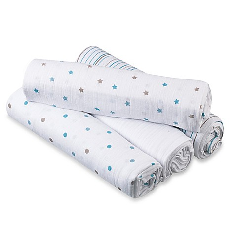 aden® by aden + anais® 4-Pack Muslin swaddleplus® Blankets in Oh, Boy