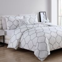 VCNY Ogee Twin Duvet Cover Set in Silver