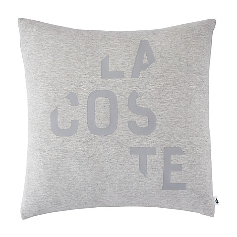 image of Lacoste Broken Logo Square Throw Pillow in Grey